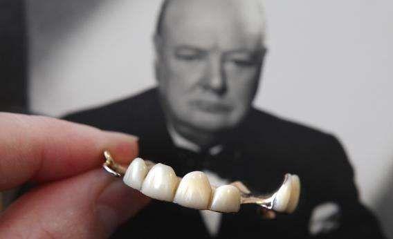 Winston Churchill with False teeth