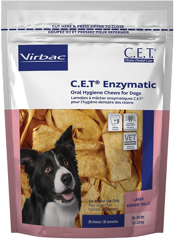 Virbac C.E.T. Enzymatic Oral Hygiene Chews, Large Dog, 30 Count